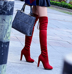 $enCountryForm.capitalKeyWord Canada - Sexy Black Suede Patent Leather Over The Knee High Thigh High long Boots Women slim sexy winter fur boots
