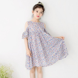 Barato Moda Meninas Coreano Meninas-Everweekend Girls Off Shoulder Vestido de verão floral Sweet Kids Candy Color Ruffles Vestido de festa Korea Western Fashion Dress
