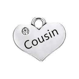 Antique Pendants For Sale UK - Hot Sale DIY Handmade Jewelry Antique Silver Plated Classic Crystal Hearts Cousin & Niece Pendants Charms for Bracelets and Necklace