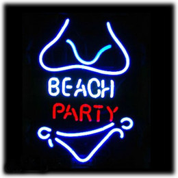 "Hot Bar Australia - Hot BEACH PARTY Neon Sign Commercial BLUE MOON LAGER BEER Neon Light Sign Store Display Beer Bar Sign Real Neon 15""X22"""