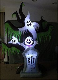 halloween decoration inflatable balloon supplies inflatable scary white ghost on the spooky tree with lighting rip