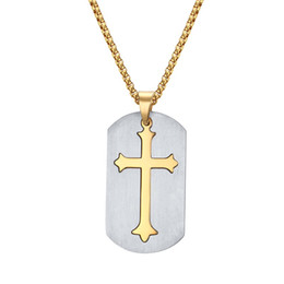 China Engraved Cross Dog Tag Necklace in Stainless Steel Men's Gift Religious Jewelry suppliers