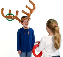 Toy Hats NZ - Kid Children Inflatable Toys Toss Game Reindeer Antler Hat With Rings Hats Fun Christmas Toy Party Supplies