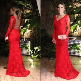 b6fd14beb6c Red Lace Mother Of The Bride Dresses 2016 Long Sleeves Backless Mermaid  Fitted Style V-neck Full Length Evening Gowns For Groom Modest