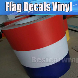 Bonnet Stickers Canada - 2016 New France Flag Hood Stripes Car Stickers Decal for Bonnet, Roof, Trunk for Volkswagen Mini DIY Car decals 15cmx30m Roll