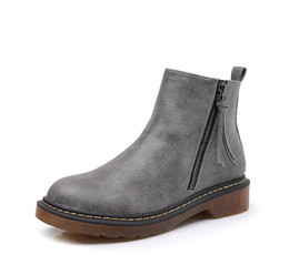 China Winter New Arrival Grey Women High Top Leather Boots Zip Short Plush Warm Snow Boot Lady Shoes Short Ankle Boot Plus Size 10 11 cheap safety high heels suppliers