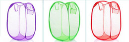 $enCountryForm.capitalKeyWord Canada - 250pcs New Mesh Fabric Foldable Pop Up Dirty Clothes Washing Laundry Basket Bag Bin Hamper Storage for Home Housekeeping