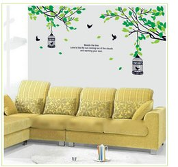 $enCountryForm.capitalKeyWord Canada - DIY Birds Birdcage Green Tree Wall Sticker Living Room Bedroom Sofa Background PVC Waterproof Removable Home Decoration Decal 61x27.6""