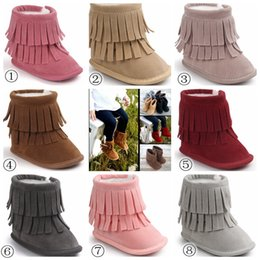 Frange Sombre Pas Cher-2017 Fashion Baby 2Layer Fringe Style Boots Dark Long Tassel Design Chaussures bébé Soft Sole Antidérapante Infant Toddles Winter Snow Boots