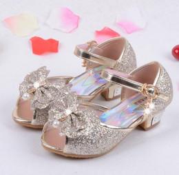 Girls sandals for weddinG online shopping - Enfants Children Princess Sandals Kids Girls Wedding Shoes High Heels Dress Shoes Party Shoes For Girls Pink Blue Gold HJIA439
