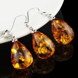 $enCountryForm.capitalKeyWord NZ - Women's Fashion Amber Tear Drop Baltic 18k Platinum Plated Pendant Necklace Earring Wedding Jewelry Set L40701