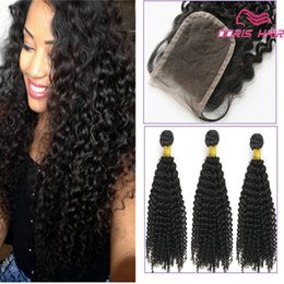 Curly Human Hair For Weaves Canada - 9A Top quality Kinky Curly human Hair Weave with free lace closure for full head Peruvian Brazilian Curly high quality Hair weft