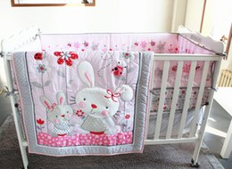 Bedding Sets For Babies Canada - Promotion! 7PCS Embroidery Baby Bedding Set,Baby Crib Set for Girl,include(bumper+duvet+bed cover+bed skirt)