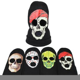 Cool Winter Beanies For Men NZ - Designer Acrylic Knitted Cosplay Winter Balaclava Skull Beanies Hats For Adults Face Covering Cap Cool Face Mask Men Woman Head Ear Warmers
