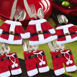 father christmas suits Canada - Santa Spoon clothing Father Christmas Costume Cutlery Tableware Holder Fork Spoon Knife Bag Cover Decor Suit Table Decorations HQ019
