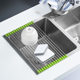 Free Shipping Roll Up Folding Stainless Steel Drainer Rack Colander Over  Sink Drying Tray For Kitchen Discount Kitchen Sink Tray
