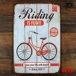 bicycle signs 2019 - Wholesale- Bicycle metal tin sign wall decor , Riding Bicycle poster Vintage tin sign metal painting Antique crafts iron
