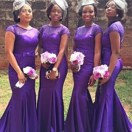 Barato Vestidos De Cetim Roxo De Manga Curta-New Purple Beaded Cheap Bridesmaid Dresses 2017 Mermaid African Bridesmaids Vestidos Manga Curta Sheer Jewel Cetim Pavimento Length Prom Gowns