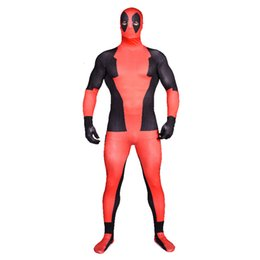 Barato Lycra Spandex Terno Vermelho-Reforma teatral Superhero New Mutants Cosplay Zentai Sexy Costume Multicolor Superman deadpool Red Lycra Spandex Suits