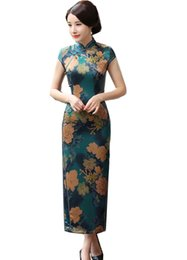 traditional chinese clothing woman UK - Shanghai Story chinese traditional clothing chinese style dresses long Cheongsam Short Sleeve Floral Qipao For Women