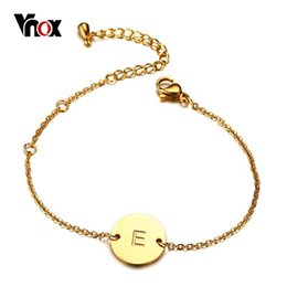 Discount engraving plates for bracelets - Vnox Elegant Letter Engraved Bracelet For Women Gold Color Stainless Steel Chain Link Adjustable Length Female Id Jewelr