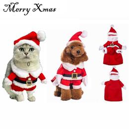 $enCountryForm.capitalKeyWord Australia - Christmas Cat Clothes Pet Dog Cat Costume Santa Claus Costume Winter Christmas Pet Coat Apparel Cotton Clothes Ornament