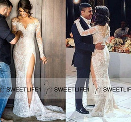 $enCountryForm.capitalKeyWord Canada - 2019 V Neck Sexy Side Slit Custom Made Lace Appliques Mermaid Wedding Dresses Long Sleeves Covered Button Back Steven Khalil Bridal Gowns