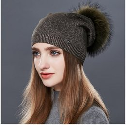 c78048666f0bc3 LUCKYFUR Real Raccoon Fur Pom Pom Hat Female Wool Knitted Winter Hats For  Girls Thick Gravity Falls Women's Cap Skullies Beanies