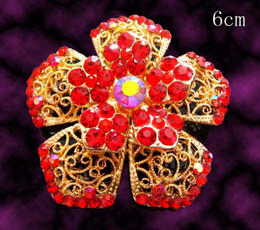 Flower Brooch Black Gold Canada - Wholesale hot sell Gold plated flowers Zinc alloy rhinestone Brooches wedding jewelry Free shipping 12pcs lot mixed color BH769