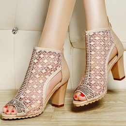 Cowhide Dress Shoes NZ - Quality Assurance Genuine Leather Woman Fashion Sexy Lace High Heels Rhinestone Cowhide Sandals Party Dress Shoes Free Shipping