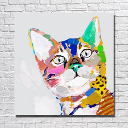 hand painting designs NZ - Nice design decorative canvas wall art paint hand painted lovely baby cat oil painting on canvas wall pictures