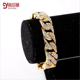 cuban links chain set Australia - 2016 New Fashion Jewelry Fully Iced Out Rhinestone Bracelet Hip Hop Bling Miami Cuban Link Chain New Chain&Bracelet Set For Men Women