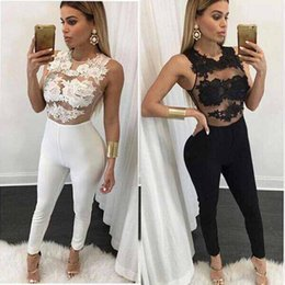 Discount skinny apparel - Wholesale- Black Apparel White Lace Up Summer Sexy Jumpsuit 2016 Spring Elastic Round Neck Fitness Bodycon Women's