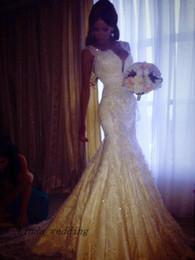 Wedding Dress Sheath Canada - Free Shipping Elegant Beautiful Sheath Column Straps Sleeveless Court Train Lace Long Wedding Dresses Bridal Gowns