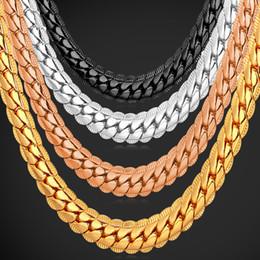 U7 панк коренастый 6 мм змея цепи ожерелье браслет мода Золото/Платина/розовое золото/черный пистолет покрытием идеальный мужчины ювелирные изделия хип-хоп аксессуары