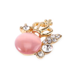 Discount fashionable crowns - Wholesale-Stylish Opal Rhinestone Crown Button Stickers Attractive Fashionable Design More Utility Pleasure Button Stick