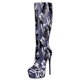 Italian Boots UK - Wholesale Sexy Trendy camouflage Nappa PU Knee Boots for Women With Platform and 16cm high heel Best Italian Design Handmade Knee Boots