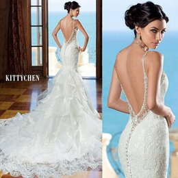 Barato Vestidos Brancos Personalizados-2016 New Backless Lace Mermaid Wedding Dresses Spaghetti Beads Trumpet Sweep Train Elegant White Bridal Gowns Vestidos De Noiva Customized