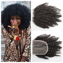 Brazilian BaBy afro hair online shopping - 8 inch Peruvian afro kinky curly hair lace closure x4 Bleached Knots With Baby Hair Human Hair G EASY DHL FREE