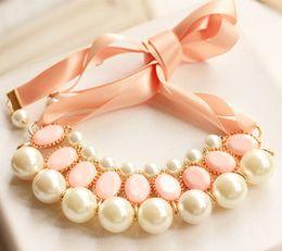 Declaración damas babero Gargantilla joyería collar de perlas de las señoras de la perla de la borla Gargantilla Collares bijouterie para el regalo de Navidad Mujeres en venta