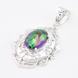 Discount borders australia Luckyshine 6Pcs Lot Vintage decorative border Mystic Topaz Gems 925 Sterling Silver Plated Pendants Russia Australia USA