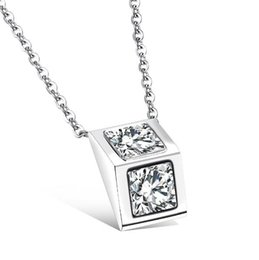 chain locket girl fashion 2019 - Fashion Jewelry Woman Accessories Triangular Prism Girls' Pendant Necklace Inlaid CZ Diamond Stainless Steel Link C