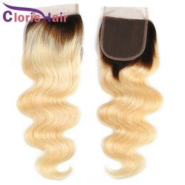 dark root virgin hair 2019 - Blonde Ombre Human Hair Lace Closure Body Wave Raw Indian Peruvian Virgin Two Tone 1B 613 Top Lace Closures Sales Dark R