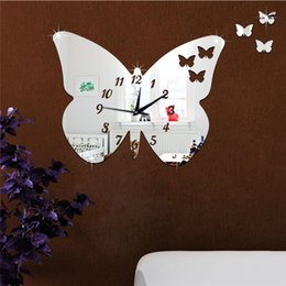 $enCountryForm.capitalKeyWord Australia - 3D mirror wall stickers round clock Creative Home Decor DIY four cute butterfly Carved bedroom Removable Decoration Stickers 2017 wholesale