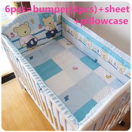 Bedding Sheeting Canada - Promotion! 6PCS baby bedding set jogo de cama infantil bed berco de bebe cunas (bumpers+sheet+pillow cover)