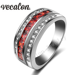 $enCountryForm.capitalKeyWord Canada - Vecalon 2016 Fashion Garnet Simulated diamond Cz Engagement Wedding Band ring for Women 10KT White Gold Filled Female Party ring