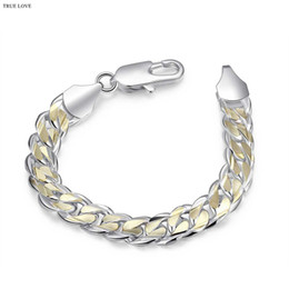 $enCountryForm.capitalKeyWord NZ - Hot 925 sterling silver plated Golden Figaro chain bracelet 10MMX21CM cool street style fashion Men's Jewelry Top Quality Free Shipping