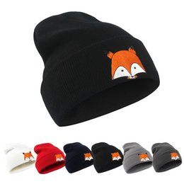 China 2017 burst image fox hats fashion men and women wool hat hip hop creative fox embroidery knitted hat cheap beach women images suppliers