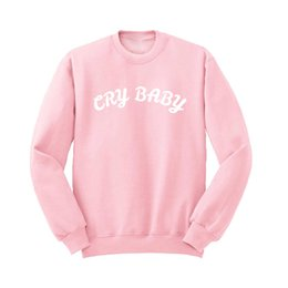 Sweat-shirts En Gros Femme Rose Pas Cher-Vente en gros- Colthing Women Autumn Winter Harajuku Fashion Letter Printed Cry Bébé Hoodies à manches longues Crewneck Pink Sweatshirts Pullover