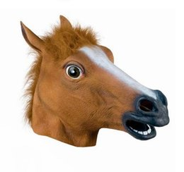 Rubber Costume Face Masks UK - 2016 New Hot Creepy Horse Mask Head Halloween Costume Theater Prop Novelty Latex Rubber free shipping